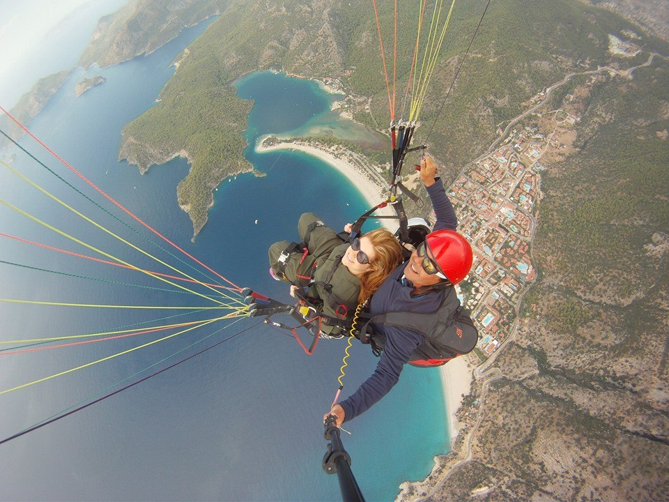 Leeann taking a birds eye view of Turkey above Oludeniz.